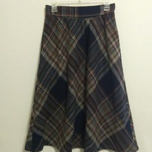 Dresses & Skirts - Vintage 70s 80s plaid high waist midi skirt M